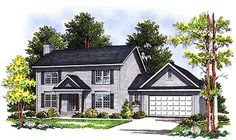House Plan 97155 | Colonial Plan with 1553 Sq. Ft., 3 Bedrooms, 3 Bathrooms, 2 Car Garage