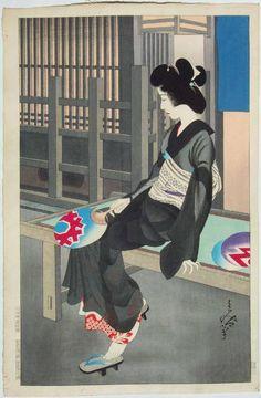 "kikikimono: "" taishou-kun: "" Oda Tomiya 小田富弥 Beauty resting, summer evening - Circa 1926 "" I "" Japanese Art Modern, Japanese Prints, Japanese Culture, Vintage Japanese, Art Occidental, Japanese Woodcut, Japan Painting, Art Asiatique, Art Japonais"