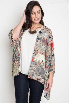 Plus Size Tribal Kimono With Pom-Pom Trim