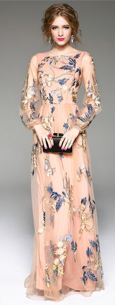 Apricot Embroidered Maxi Dress