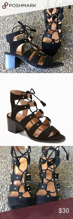 Black Chucky Heeled Gladiator Sandal Super adorable sandals! Near perfect condition- I've worn one time! Super small marks of wear (see pics), nothing really noticeable when worn! Soft material- size 9 Old Navy Shoes Heels