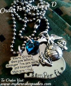 """Marine Wife, Marine Girlfriend- Hand Stamped Stainless Steel Heart Necklace- Hand Stamped Text: """"Semper Fi"""" with Braver than you,EGA & Sea Blue Swarovski <3 -Item Hand Stamped By Me - Retail: $13.00 plus shipping - Follow me on Facebook: www.facebook.com/myheroskeepsakes ,Or To Order Visit: www.myheroskeepsakes.com"""