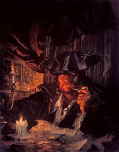 Premier projet pour la couverture du Tome 1 de Long John Silver - Huile sur toile - Oil on canvas