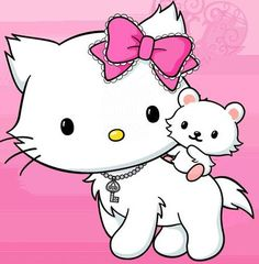 Ok....Hello Kitty has her own cat.  Her cat's name is Chammy Kitty.  Chammy Kitty has her own hamster!!  Chammy Kitty uses 4 legs to walk and has a collar.  *head explodes*