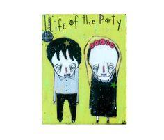 Halloween disco party folk art decor Creepy cute scary by LiaLane, $30.00