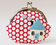 Coin purse stocking stuffer red polka dots with blue by oktak