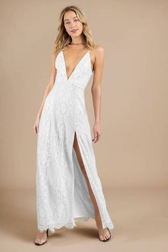 Is it wedding season yet? The White Swoon Over You Lace Maxi Dress is so romantic, it could be your plus one. The ultimate wedding guest dress, it's e White Lace Maxi Dress, Sundresses Women, Beautiful White Dresses, Cute Dresses For Party, Princess Ball Gowns, Boho Tops, Women's Fashion Dresses, Graduation Dresses, Prom Dresses