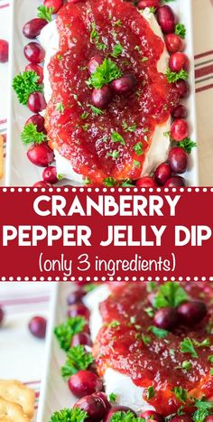 Cranberry Pepper Jelly Dip, everyone's favorite holiday appetizer Appetizer Dips, Appetizers For Party, Appetizer Recipes, Dip Recipes, Turkey Recipes, Potato Recipes, Casserole Recipes, Crockpot Recipes, Chicken Recipes