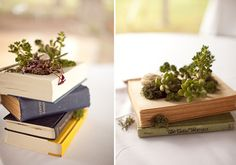 vintage books turned into lovely planters/wedding centerpieces