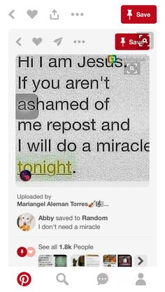 Reposting for Jesus not the miracle