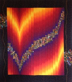 Art Quilt Flaming Bargello Wall Hanging Beautiful ombre fabric in rich colors are coupled with fun Kaufman print of geometric bubbles to create this dramatic fiber art piece. Motifs Bargello, Bargello Quilt Patterns, Bargello Quilts, Scrappy Quilts, Palacio Bargello, Ombre Fabric, Handi Quilter, Feather Design, Quilted Wall Hangings