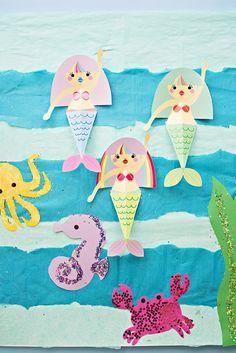 Meerjungfrauen, Kraken, Krabben und Seepferdchen aus Papier basteln, lustige Tätigkeiten für Kinder