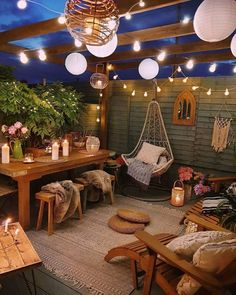 String Lights Outdoor Porch - New ideas Backyard Shade, Backyard Patio Designs, Patio Ideas, Garden Ideas, Backyard Lighting, Balcony Ideas, Backyard Landscaping, String Lights Outdoor, String Lanterns
