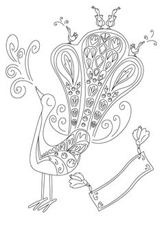 Free Peacock Birdsong Bird Feather Coloring Page By Jegglecouk