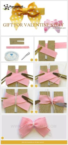 This tutorial is going to inform you a way of how to make hair accessories for girls; to be more specific, with this tutorial you will create a cute bow hair clip which can be presented as gift for valentine s day. by jacqueline