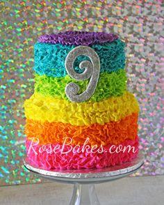 Electric Rainbow Buttercream Ruffles Cake - Rose Bakes