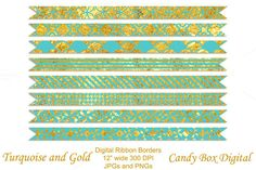 Check out Turquoise and Gold Ribbon Borders by Candy Box Digital on Creative Market. Great for digital scrapbooks, journals, and blogs!