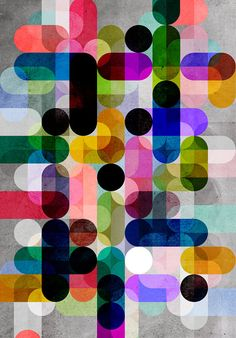 Multi Colour Geometric Giclee Print 30x40cm by DavesPrintShop, £45.00