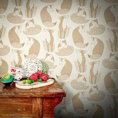 Feathr Day Dreaming Wallpaper by Teija Vartiainen B&q Wallpaper, Painting Wallpaper, Stunning Wallpapers, Fox Print, Elle Decor, Designer Wallpaper, Colored Pencils, Drawings, Prints