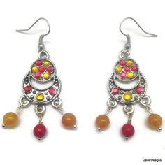 Red and Orange Glass Beads Chandelier Earrings by ZaverDesigns