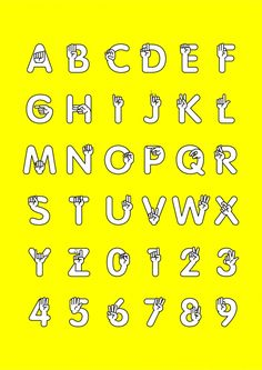 Lettering with ASL hands integrated into the font