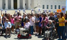 Social Justice at the UUA.   Members of All Souls Church Unitarian, Washington, DC, protest for voting rights on the steps of the U.S. Supreme CourtImage courtesty of Benny Johnson.