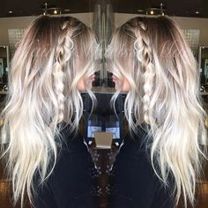 """Rooty platinum and textured waves, my favorite  Some people don't understand the """"rooty"""" look but theres something so striking about a blended contrast between dark and light. Gives it dimension and depth. #hairbymarissamae"""
