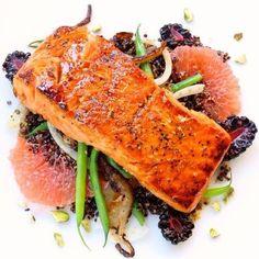 Grapefruit & Sugar Charred Salmon + snap peas + fennel + blackberries ...