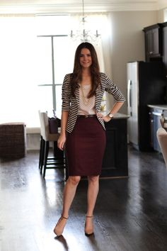 Striped jacket, polka dot blouse, burgundy skirt & nude heels: Veronika's…