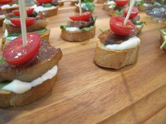BLT Crostini: brown sugar pork belly, bacon aioli, lemony tomatoes, arugula