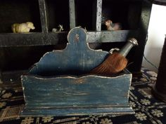 Early Antique Primitive Blue Paint Lollipop Candle Spice Wall Box Old Farm in Antiques, Primitives Candle Box, Wall Boxes, Old Farm, Primitives, Crates, Spice, Homesteads, Candles, The Originals