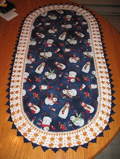 Aunt Roo's Chilly Silly Snowmates Snowmen fabric table runner (reverse Snowflakes on navy) w/ crocheted edging...