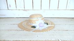 Light tan brown woven vintage lace cut out style floral straw hat/gardening farming hat/straw sun hat by GreenCanyonTradingCo on Etsy