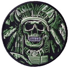 Indian Skull [Camo green] Embroidered 3.25 Inch Biker Patch