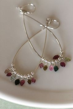 Long sterling silver hoops with tourmaline leaf shape beads, shoulder dusters, chandelier earrings, handmade jewelry by girlthree