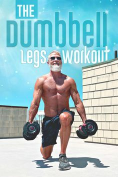 This workout uses dumbbells to firm and chisel your leg muscles – helping your thighs and booty to become stronger and healthier. Video included.  #dumbbells #thighs #booty #legmuscles #stronger #over50 #healthier #overfiftyandfit #workout #exercises #ideas #fitness Fitness Workouts, Leg Workouts For Men, Leg Workout At Home, Fun Workouts, At Home Workouts, Workout Routines, Fitness Tips, Men Exercise, Workout Posters