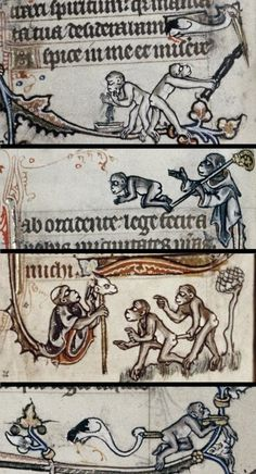 Monkeys behaving badly, and a heron getting some revenge. (Psalter, England 13th century.     Bodleian, MS. Douce 6, margins)