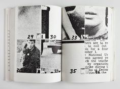 """Dieter Roth's 'Daily Mirror' series are the foundation for Hans-Rudolf Lutz's later newspaper experiments. Roth bound the found material of the newspaper clippings (2 × 2 cm) into a 150-page book."""