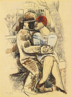 Marcel Gromaire - SUR LE BANC, 1925, Watercolor,...