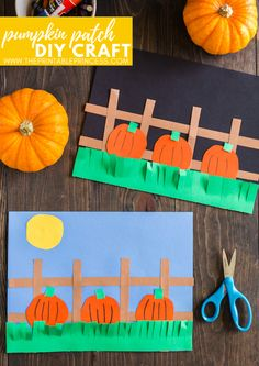 This DIY pumpkin match makes a great fall craft for kids idea! It is perfect for kindergarten and first grade students. Not only will students practice fine motor skills, but they will also practice l Fall Pumpkin Crafts, Easy Fall Crafts, Halloween Crafts For Kids, Diy Pumpkin, Holiday Crafts, Diy Crafts, Decor Crafts, Kindergarten Crafts, Preschool