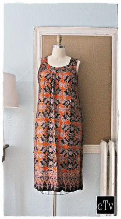 Exotic 70's Batik Indonesian Bohemian Sun Dress