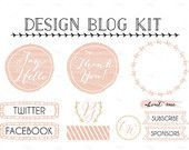 Design Blog Kit with Elements // Vector and PNG // Blogger Icons // Web Buttons // Navigation Bars