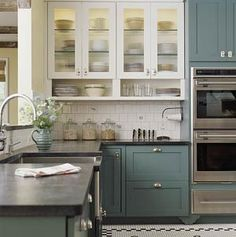 two level color, painted kitchen cabinets, two color kitchen cabinets, bistro style kitchen, tile floor, eclectic kitchen, paint color ideas