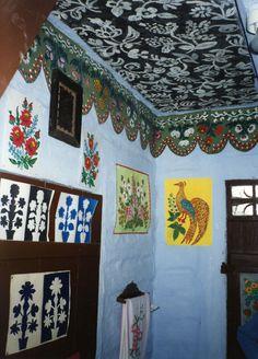 Interior folk design of a house in the painted village of Zalipie, Poland