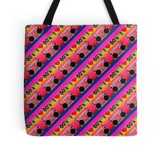 'Colorful Boombox Retro Pattern' Tote Bag by HavenDesign Retro Pattern, Boombox, Laptop Skin, Ipad Case, Colorful Backgrounds, I Shop, Corner, Reusable Tote Bags, Stuff To Buy