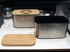 If you always have room on your countertop for a breadbox, you'll love the stylish new stainless steel model from Joseph Joseph ($75), available at Bloomingdale's in June. The lid is made of solid beech and flips over to reveal a cutting board with crumb catchers. A removable plastic insert makes the box easy to clean between loaves.    Read more: Kitchen Gear - Top Kitchen Tools from the International Home and Housewares Show - Good Housekeeping
