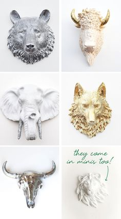 ~Resin taxidermy heads - these are pretty cool not sure which one I would choose but a white (mini) deer head with gold glittered antlers is calling to me~
