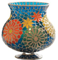 Make an old vase or candle holder brand new again with mosaics!