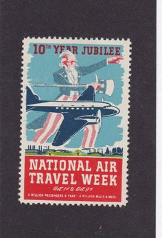 Label National Air Travel Week 10th Year Jubilee Uncle Sam
