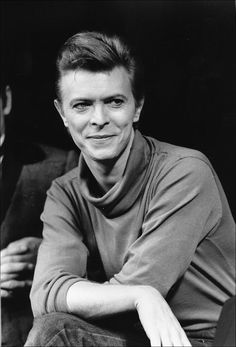 "In this Sept. 17, 1980, file photo, David Bowie listens during a news conference after a rehearsal at the Booth Theater in New York.  Bowie was appearing in the Broadway production of ""The Elephant Man."""